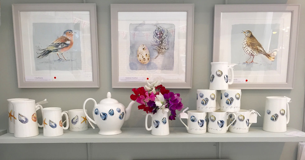 Garden birds prints and chinaware - House and Garden Festival, Olympia.