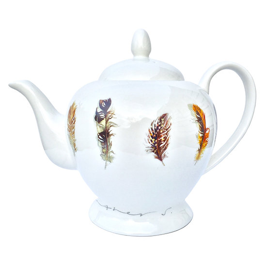 NEW - Feathers china teapot