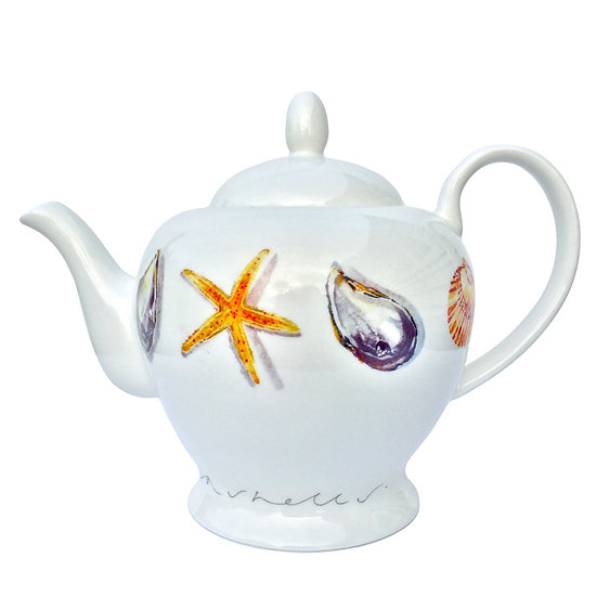 NEW - Seashells china teapot