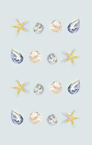 Seashells on Blue Tea Towel