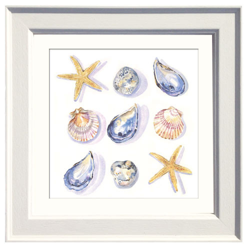 She sells seashells collage, china mugs and framed print