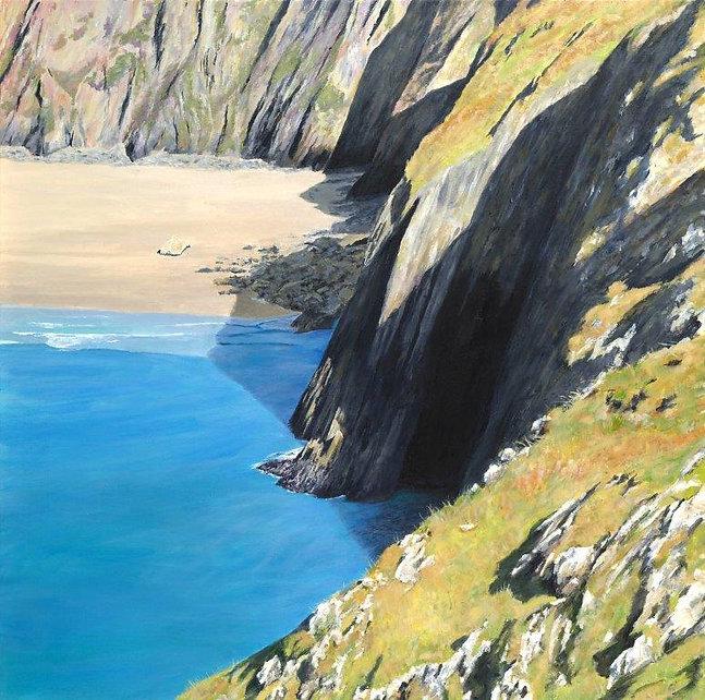 Sloping Cliff, Traeth Llyfn, Nr Porthgai