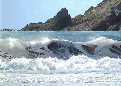 SUMMER WAVE, Marloes Sands, Pembrokeshire: Ref C17 - Pack of 5, inc. UK postage
