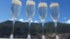 Champagne toast. Lake Como, Italy
