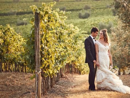 A Romantic Elopement. Castello Banfi, Montalcino Region, Tuscany, Italy