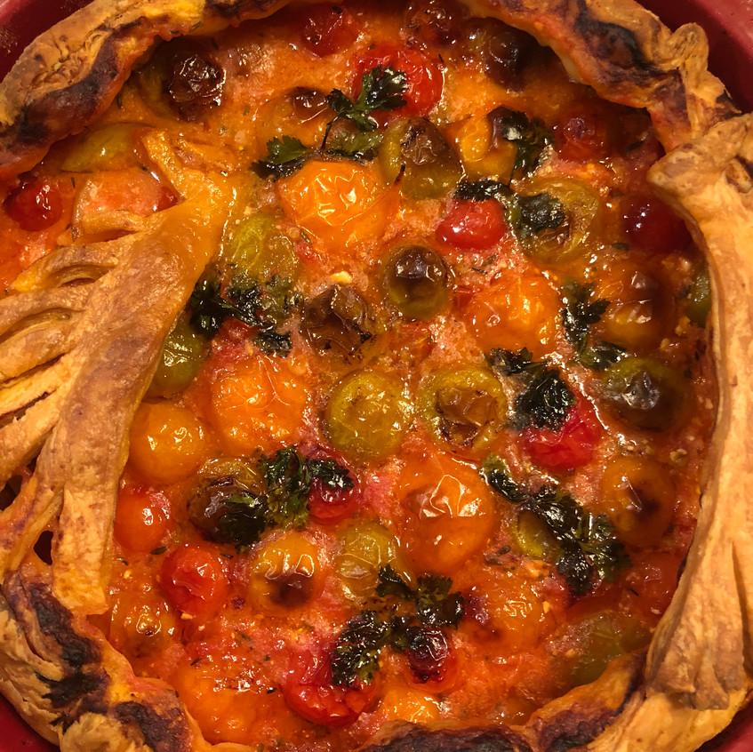 Tomato tart cooked