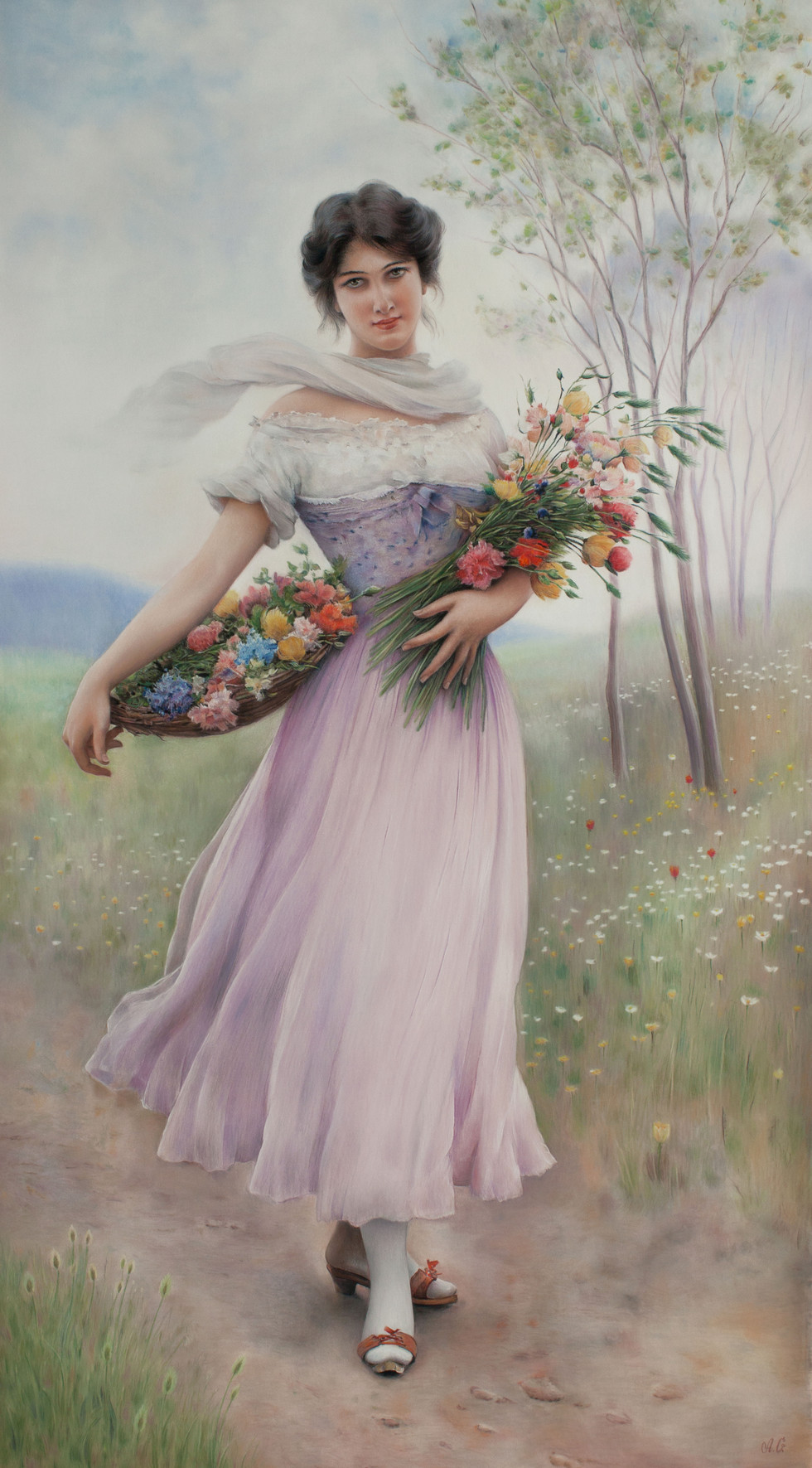 A Girl in a Lilac Dress