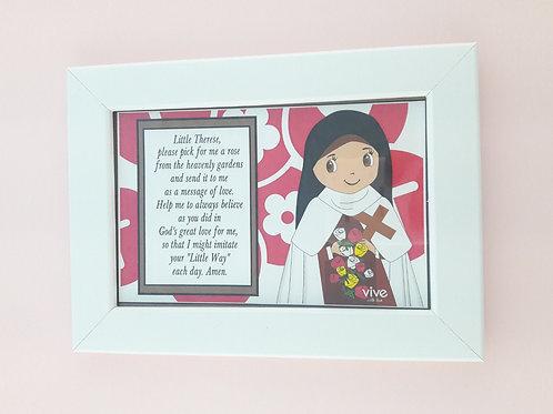 Frame Little Flower, English Prayer / Cuadro Santa teresita, Oracion en Ingles