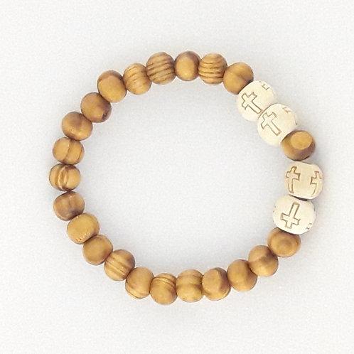 Wood Cross Bracelet / Pulsera Cruz de Madera