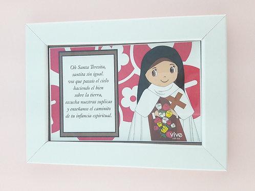 Frame Little Flower, Spanish Prayer / Cuadro Santa teresita, Oracion en Español