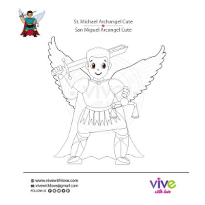 St. Michael Archangel Cute Coloring Page x 30 Units / San Miguel Cute
