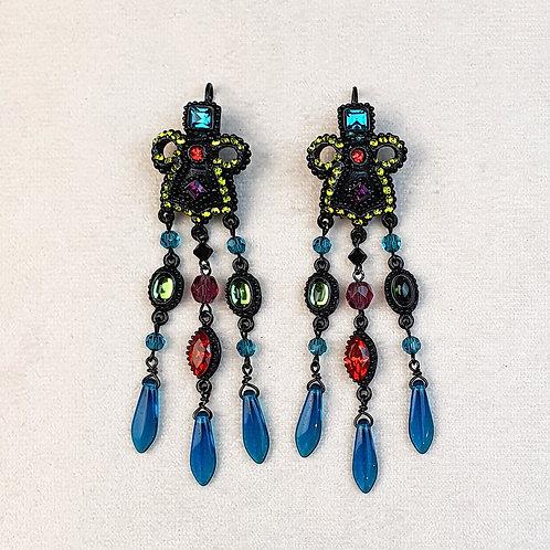 Boucles d'oreilles ODE 28 N/Bleu