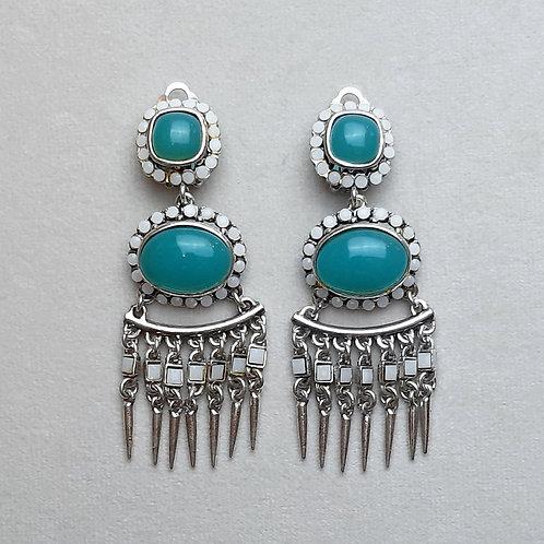 Boucles d'oreilles PAM 4 A/Turquoise/Blanc