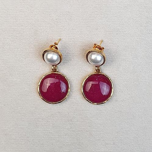 Boucles d'oreilles STON 6 D/Prune/Perle