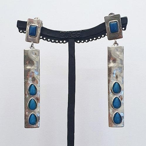 Boucles d'oreilles MAT 5 A/Bleu Paon