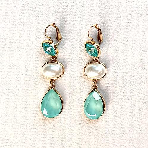 Boucles d'oreilles STON 10 D/Mint Green/Perle