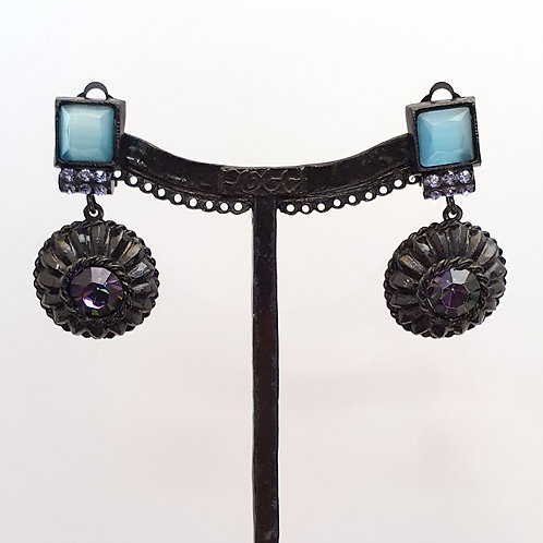 Boucles d'oreilles  DEC 9 N/Bleu
