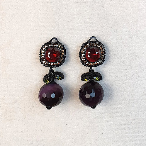 Boucles d'oreilles ODE 36 N/Rouge