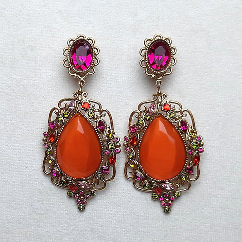 Boucles d'oreilles KIF 4 D/Fuchsia/Orange