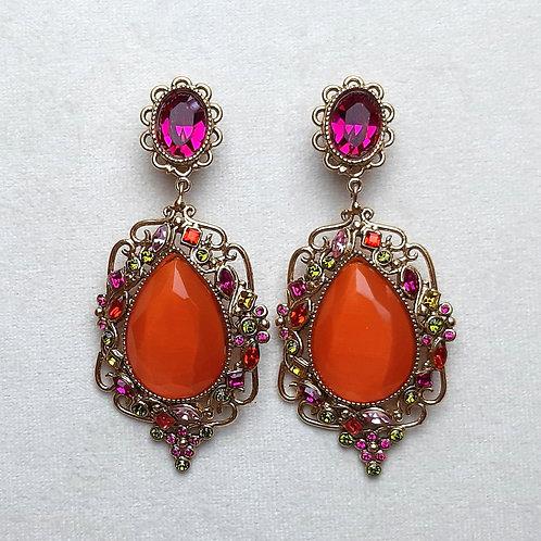 Boucles d'oreilles KIF 4 D/Fuchsia/Orange