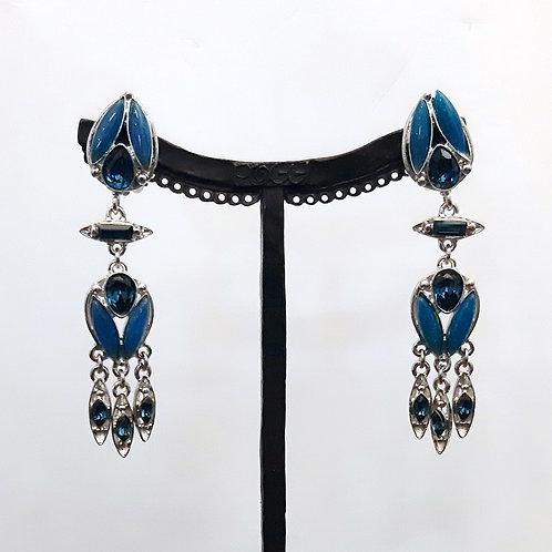 Boucles d'oreilles MAT 10 A/Bleu Paon
