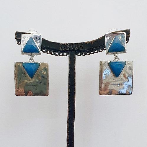 Boucles d'oreilles MAT 3 A/Bleu Paon