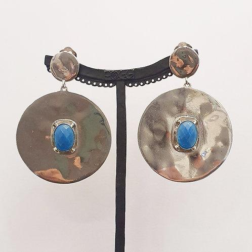 Boucles d'oreilles MAT 7 A/Bleu Paon