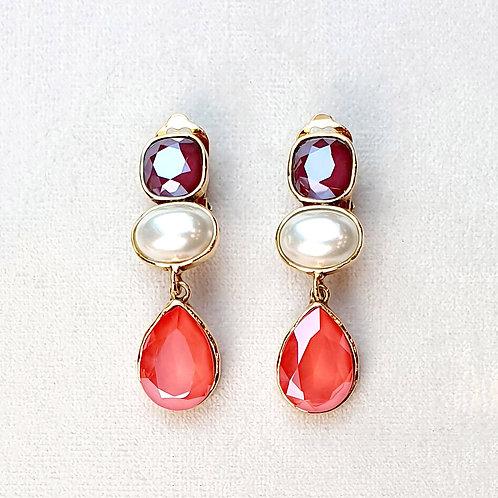 Boucles d'oreilles STON 8 D/Light Coral/Perle