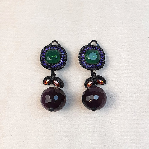Boucles d'oreilles ODE 36 N/Vert