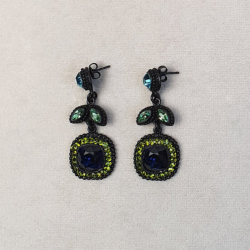 Boucles d'oreilles ODE 73 N/Vert Multi