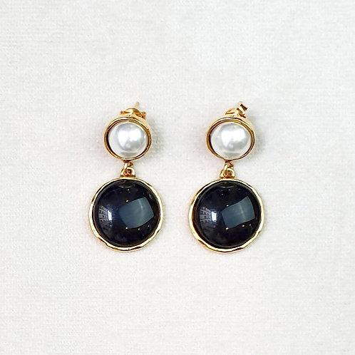 Boucles d'oreilles STON 6 D/Onyx/Perle