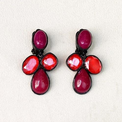 Boucles d'oreilles STON 17 N/Royal Red