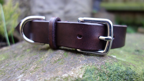 Plain Hand Stitched Leather Dog Collar
