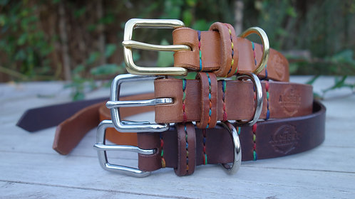 Stitched Strap Keep- stitched down Leather Dog Collar