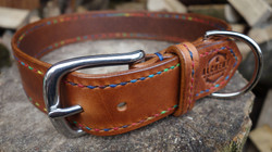 Fully stitched chestnut dog collar