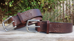 Chocolate dark brown stitched belts, stainless steel buckles