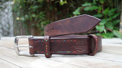 Rainbow stitched chocolate belt, 1 1/4 inch wide with stainless steel buckel and extra floating stra