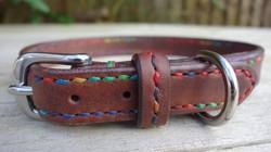 Rainbow handstitched Chocolate custom fitting dog collar