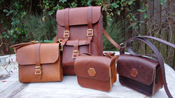 Brandy small satchel, chestnut backpack, chestnut small magnetic bag and chocolate small magnetic ba