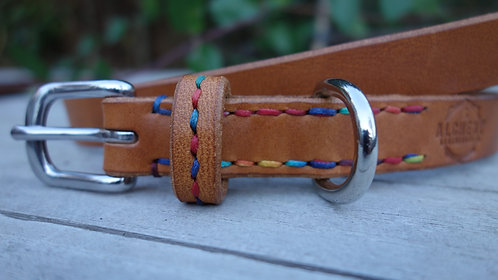 Stitched Strap Keep - stitched round leather Dog Collar