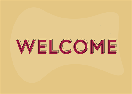 welcome in red text over orange