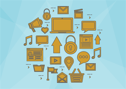 A series of copper icons that are popular on the web. A speech bubble, an upload arrow, a heart, file folders, shopping carts, locks, and email messages