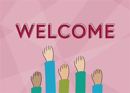 welcome sign with hands