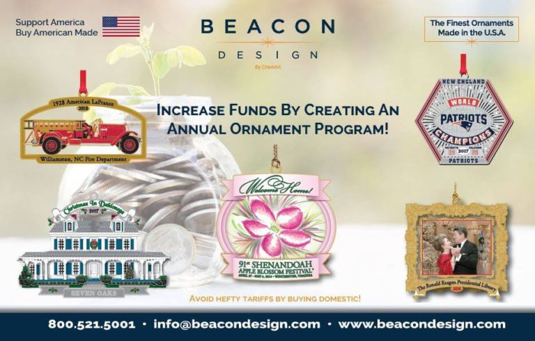 Beacon Design sample postcard. Shows 5 sample ornaments and text reads INCREASE FUNDS BY CREATING AN ANNUAL ORNAMENT PROGRAM.