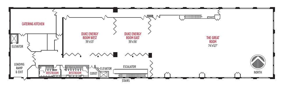 Second floor diagram, Monroe Conventon Center, Bloomington, Indiana