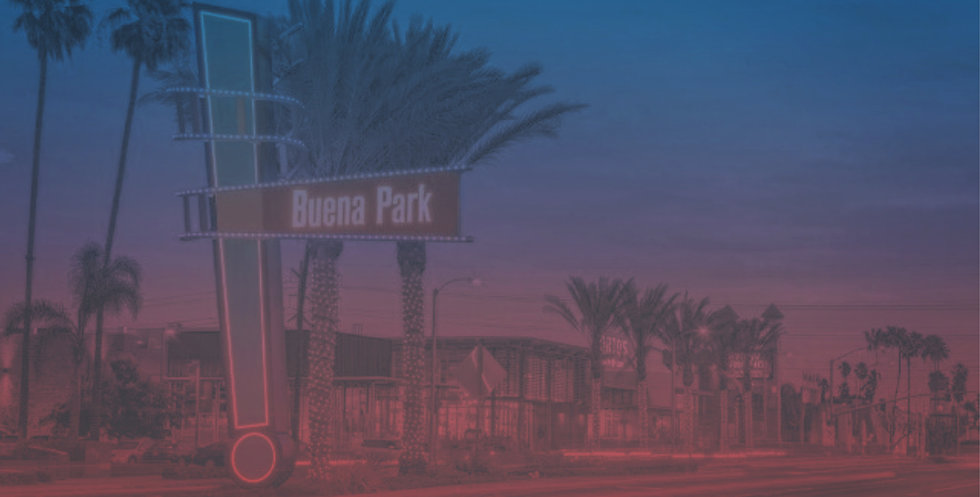 buena-park-Median-Sign-at-Dusk-with-Port