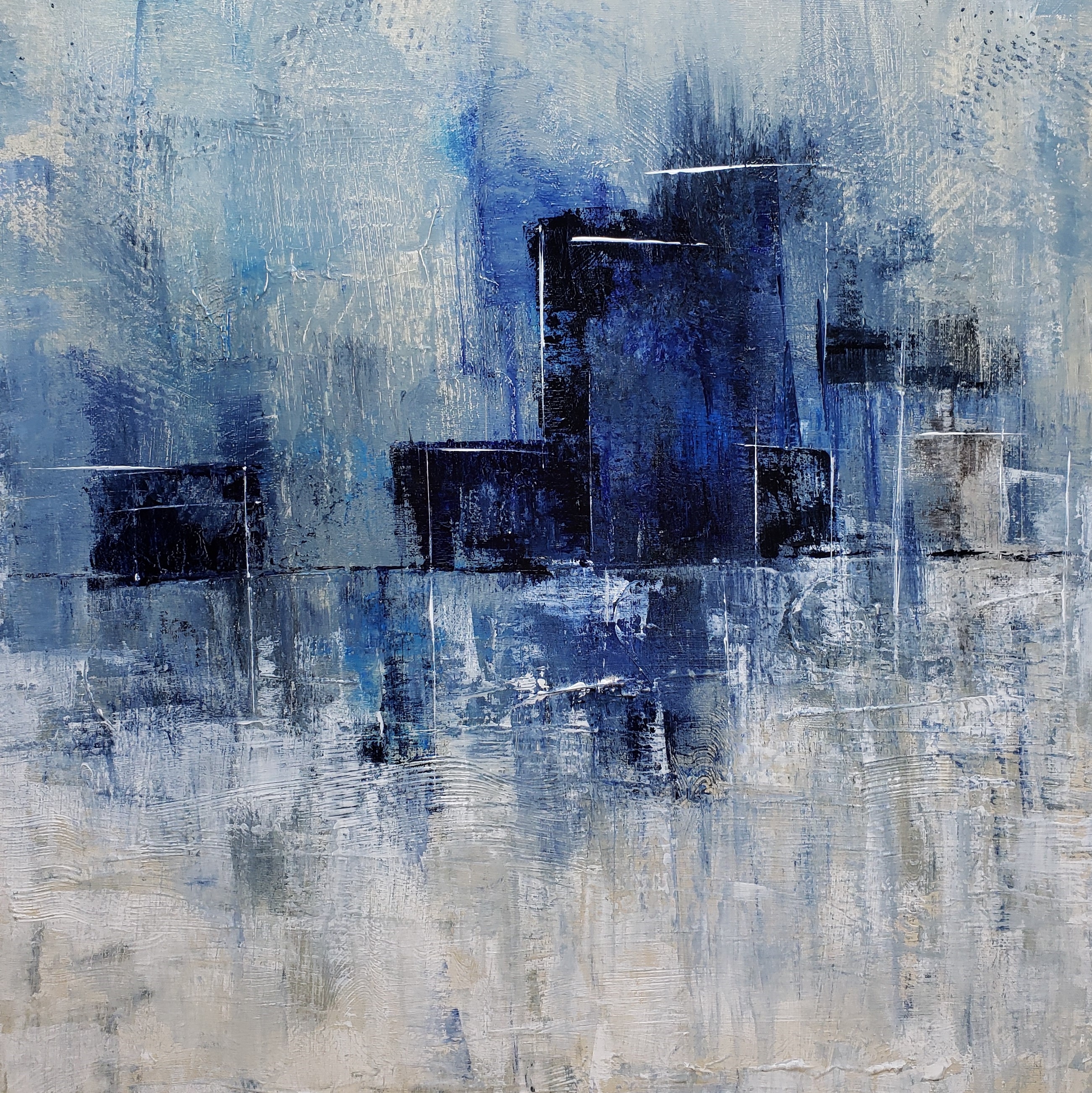 blue abstract city painting