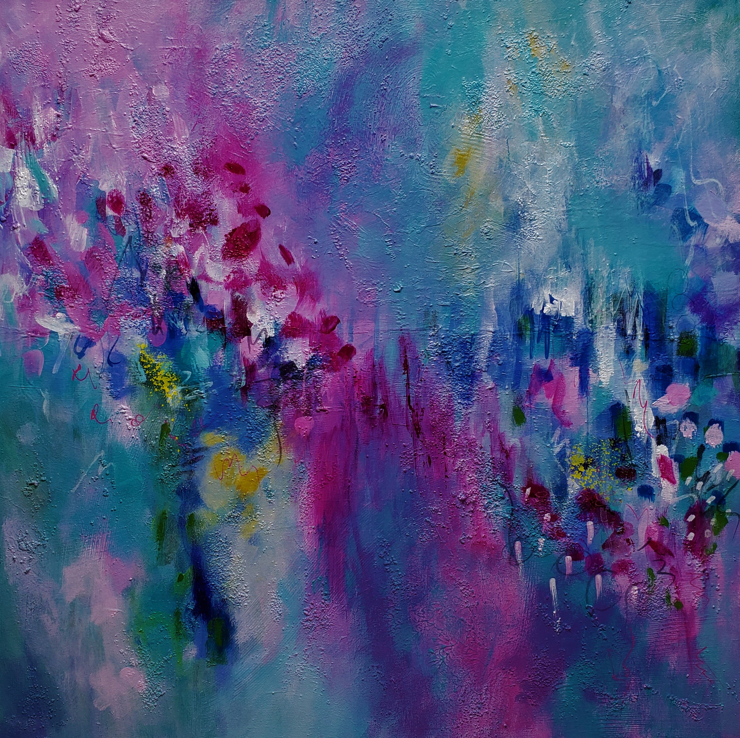 abstract pink blue painting