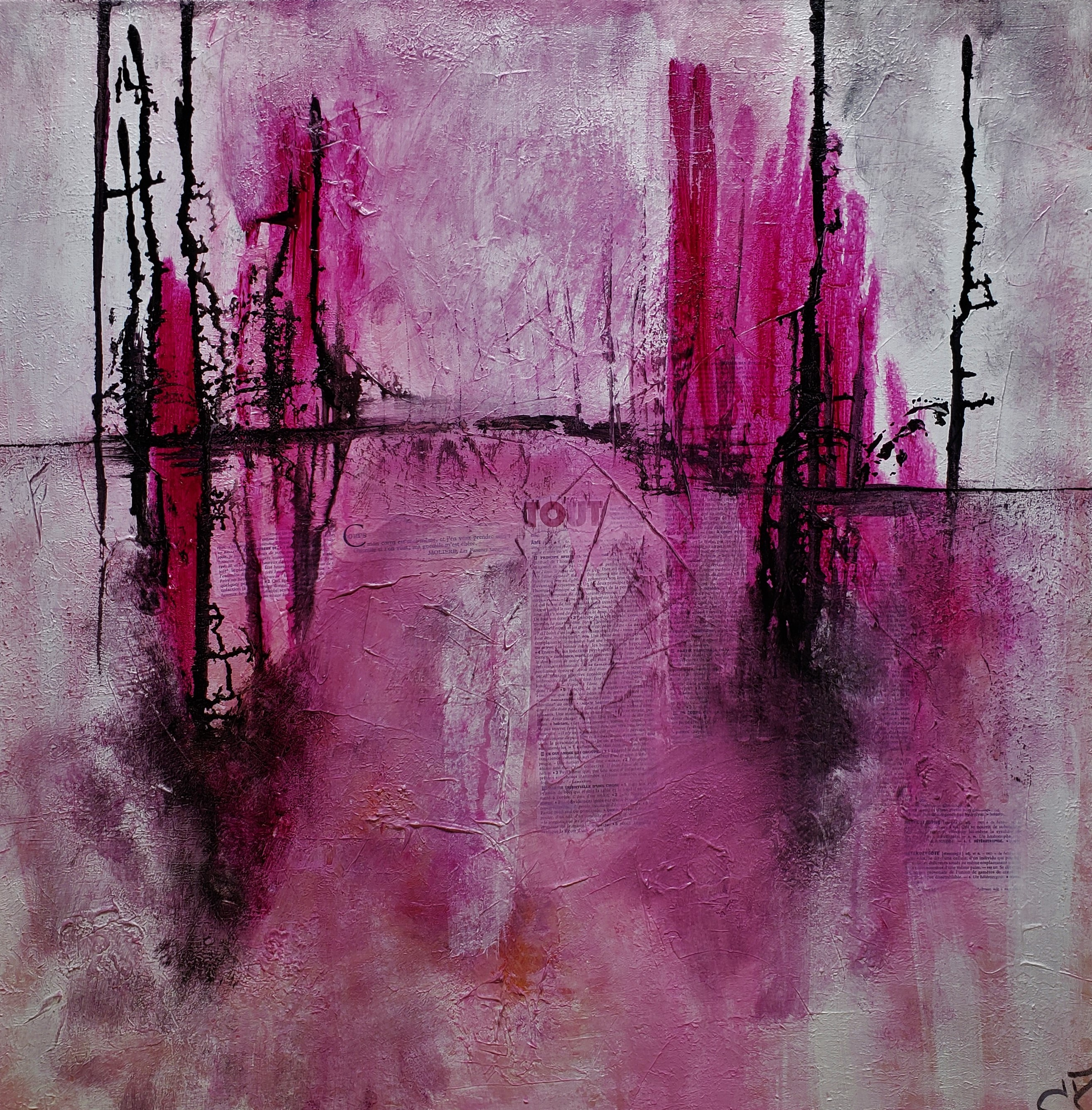 pink forest painting