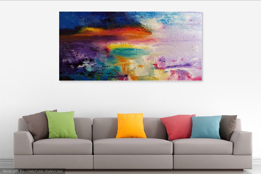 rectangular abstract sunset painting